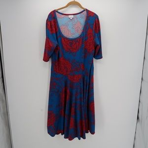LuLaRoe Blu Red Women's Floral Plus Size 2XL